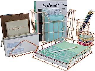Sorbus Desk Organizer Set, Rose Gold 5-Piece Desk Accessories Set Includes Pencil Cup Holder, Letter Sorter, Letter Tray, ...