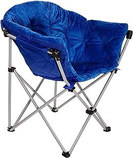 Folding Saucer Moon Chair Short Plush Faux Fur Padded Club Seat (Blue)