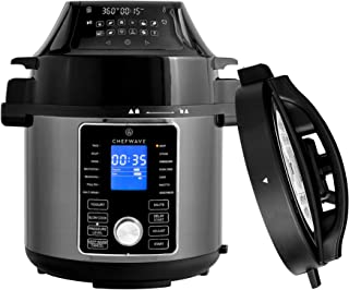 ChefWave 2-in-1 Air Fryer and Pressure Cooker – 6 Qt Multi Cooker Swap Pot with 29 Presets – Steamer, Dehydrator, Slow Cook, Saute - Digital Control Panel, LCD Touchscreen Display, Recipe Book