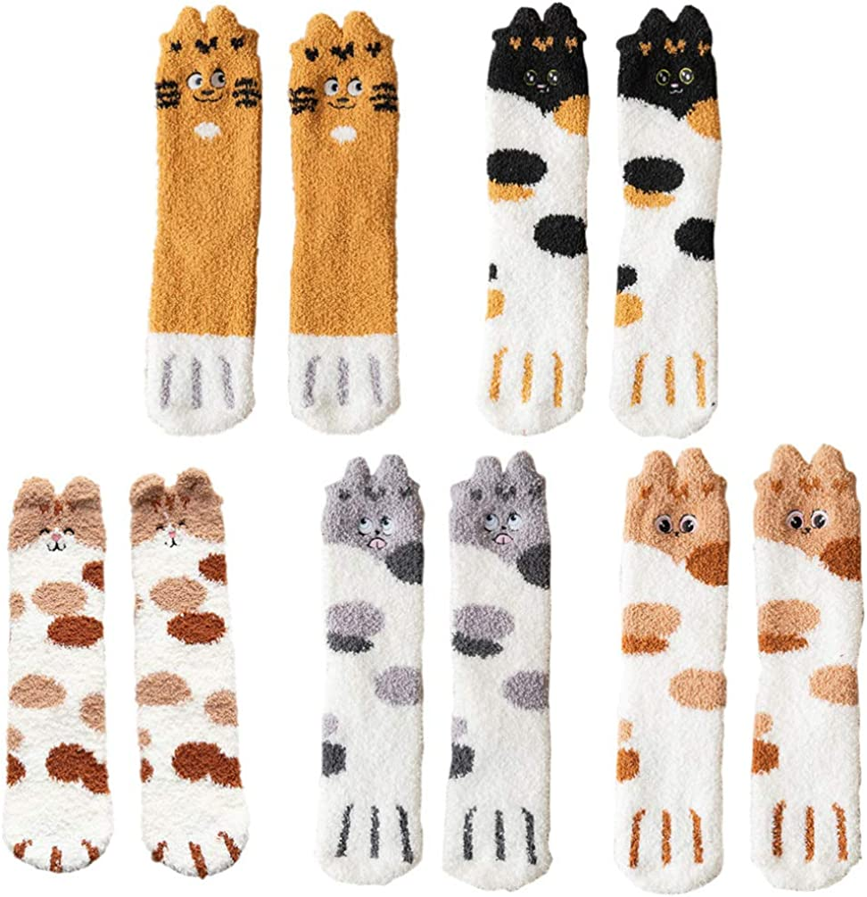 VALICLUD Fuzzy Socks for Ranking TOP5 Women Max 51% OFF Soft Paw Coral I Cat Fleece
