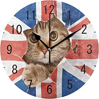 ALAZA Home Decor Cute Cat Kitten Union Jack Round Acrylic 9 Inch Wall Clock Non Ticking Silent Clock Art for Living Room Kitchen Bedroom