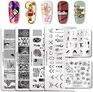 NICOLE DIARY 6Pcs Nail Stamping Plate Letter Sakes Flower