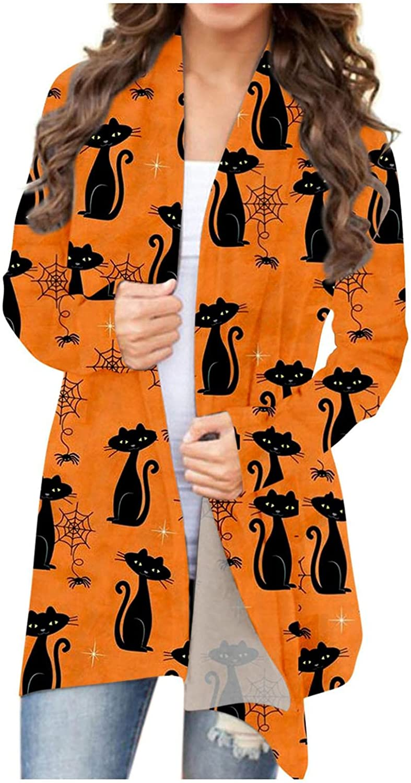 AODONG Halloween Cardigan for Women,Womens Lightweight Pumpkin Print Graphic Tops Long Sleeve Open Front Cardigans Coat