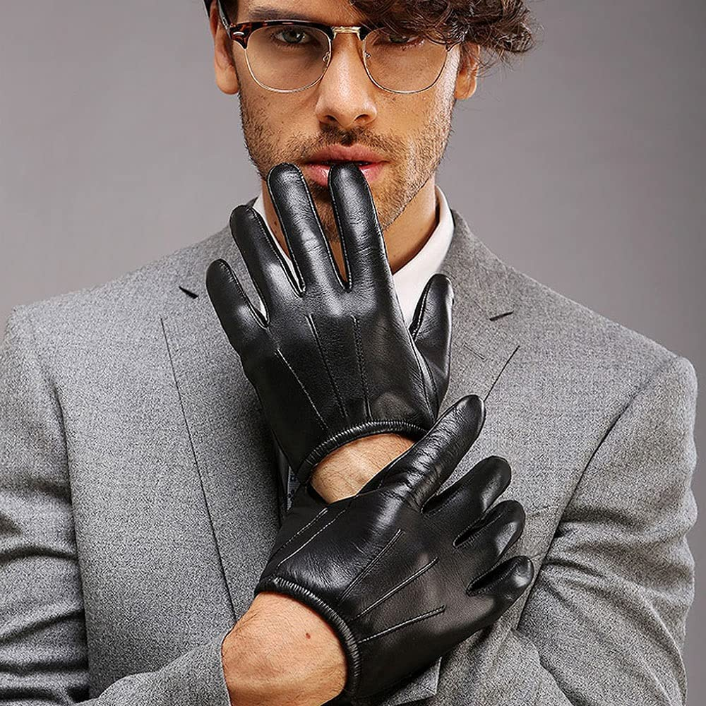 Kioiien Men's Motorcycle Driving Leather Gloves Winter Warm Windproof Sheepskin Gloves Texting Typing Touch Screen Mitten for Driving Cycling Motorcycling Driving Gloves