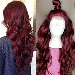 99J Body Wave Human Hair Lace Front Wigs for Women Ponytail Wavy Full Lace Wigs with Baby Hair Bleached Knots (18inch Lace Front WIg)