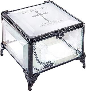 Baptism Gift for Girls Personalized Keepsake Box Clear Beveled Glass Engraved Cross Jewelry Daughter Goddaughter Granddaughter J Devlin Box 326 EB222