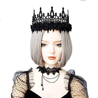 Halloween Headband Hair Hoop for Women, Cat Ear Spider Horn Lace Veil Flower Hair band Hair Accessories Headdress