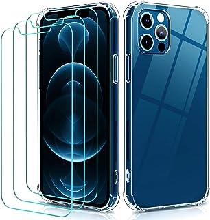 iVoler Funda TPU Compatible con iPhone 12, Compatible con iPhone 6.1 Pulgadas 12 Pro 2020 con 3 Unidades Protector de Pant...