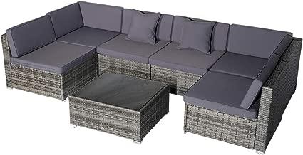 Outsunny 7 Piece Modern Rattan Wicker Garden Outdoor Furniture Modular Sectional Patio Set - Grey