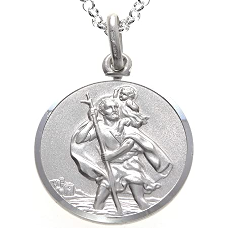 """Sterling Silver St Christopher 30mm Pendant and 20/"""" chain Gift Boxed"""
