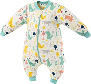 MIKAFEN, Saco de dormir para bebé con piernas forrado cálido invierno manga larga saco de dormir de invierno con pie 2.5 tog (bosque verde, L / altura 110cm-120cm)