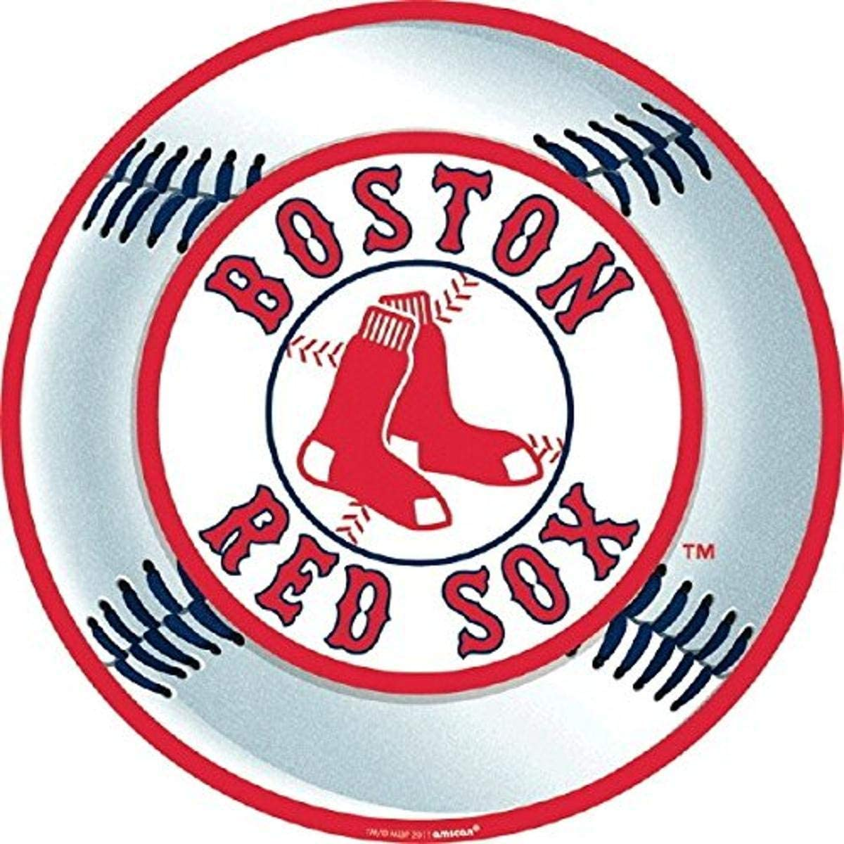 amscan 199368 Boston Red Sox Major League Baseball Collection Cutout Party Decoration 12 1 Ct, White/Red
