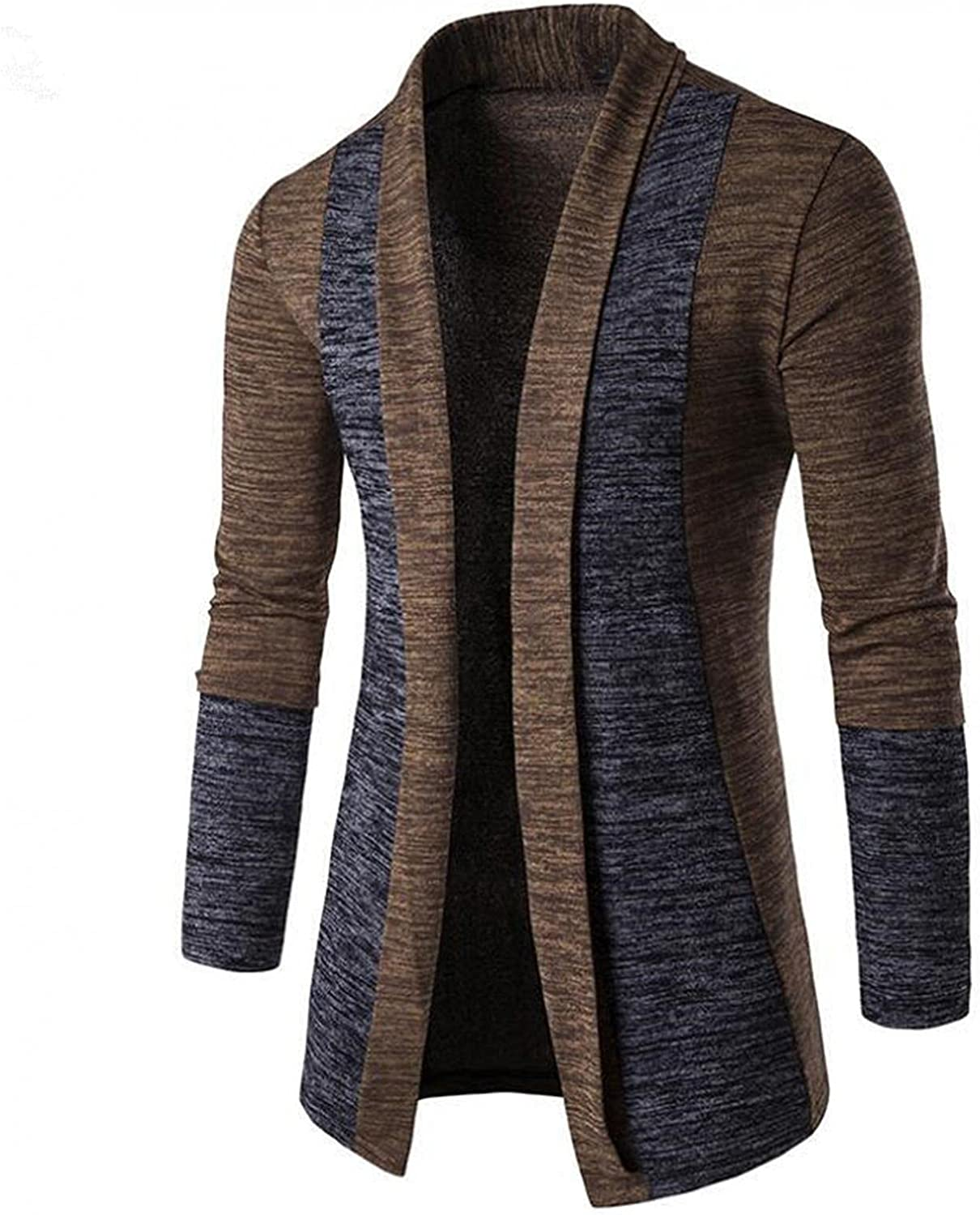 Men's Fashion Patchwork Sweaters Autumn Casual Cardigan Knitted Jacket Long Sleeve Slim Fit Outwear