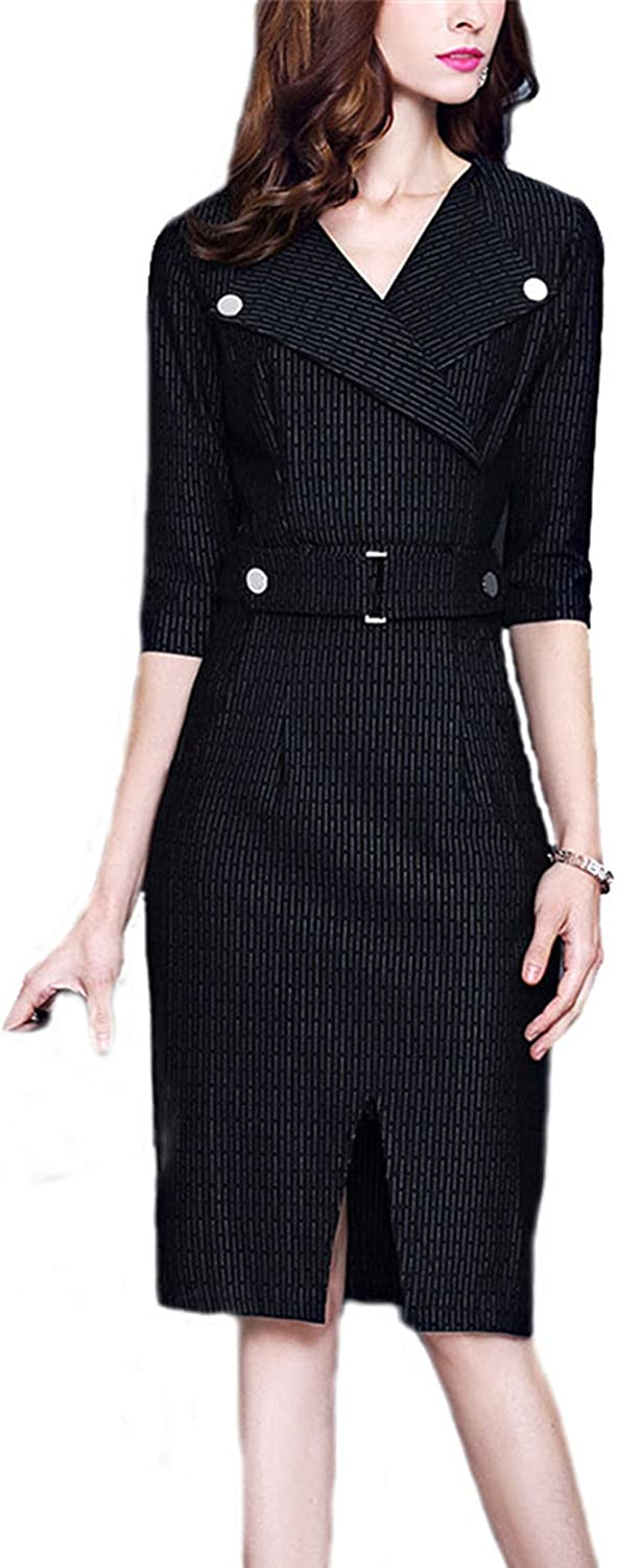 Allonly Lapel Wear to Work Business Party Bodycon One-Piece Pencil Dress