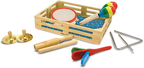 Melissa & Doug Band-in-a-Box Clap! Clang! Tap! Musical Instruments (Various Instruments, Wooden Storage Crate, 10-Piece Set, Great Gift for Girls and Boys - Best for 3, 4, 5, and 6 Year Olds)