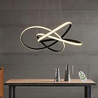 ZMH lámpara colgante LED salón lámpara colgante negra regulable en altura Ø62 CM 68 W anillos lámpara de techo lámpara de techo regulable con mando a distancia sala de estudio cocina comedor escalera