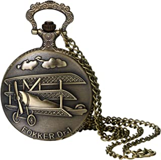 Pocket Watch for Men and Boys Vintage Bronze Aircraft Decorative Case Arabic Numeral Dial Quartz Analog Pocket Watch with Chain for Halloween Costume Party Christmas