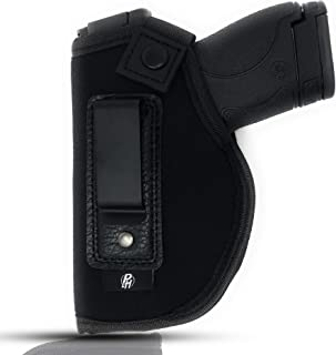 IWB Gun Holster by PH - Concealed Carry Soft Material | Soft Interior | Fits M&P Shield 9mm.40.45 Auto/Glock 26 27 29 30 33 42 43 / Ruger LC9, LC380 | Taurus Slim, PT111 | Springfield XD Series
