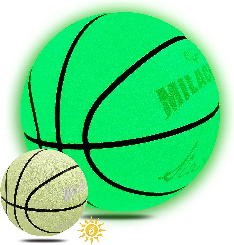 Basketball Glow in The MILACHIC Dark Ranking Award-winning store TOP14 Leather Glowing