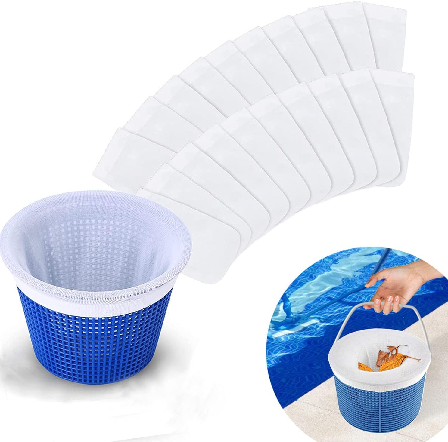 Mitening Calcetines Piscina Filtros, 20 pcs Blancos Filtro Skimmer de Piscina de Tela de Nailon Elástico Duradero para Cesta de Piscina, Red para Piscina Skimmer para Elimina Escorias, Hojas, Insectos