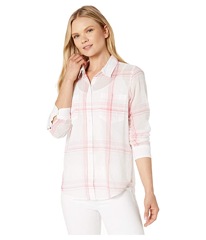 Lucky Brand  Ashley Button Front Shirt (Pink Multi) Womens Clothing