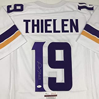 Autographed/Signed Adam Thielen Minnesota White Football Jersey JSA COA