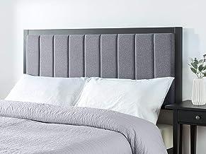 Zinus Barbara Double Headboard | Upholstered Banded Fabric Bed Head, Metal Frame, High Density Foam - Grey