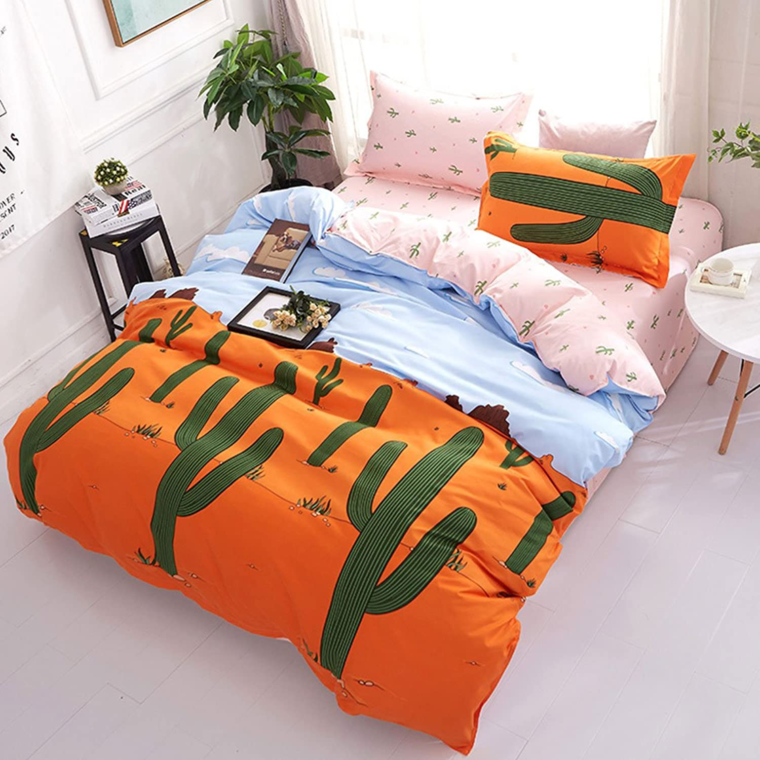 Libaoge 3 Piece Reversible Bed Sheets Set, Green Plants Cactus Print, 1 Duvet Cover and 2 Pillow Cases