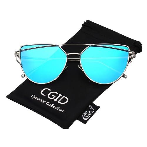 CGID MJ74 Lunettes de Soleil Polarisées Oeil de chat Cateye Modernes et  Fashion Réfléchissantes UV400 Pour 48dfa0e432e9