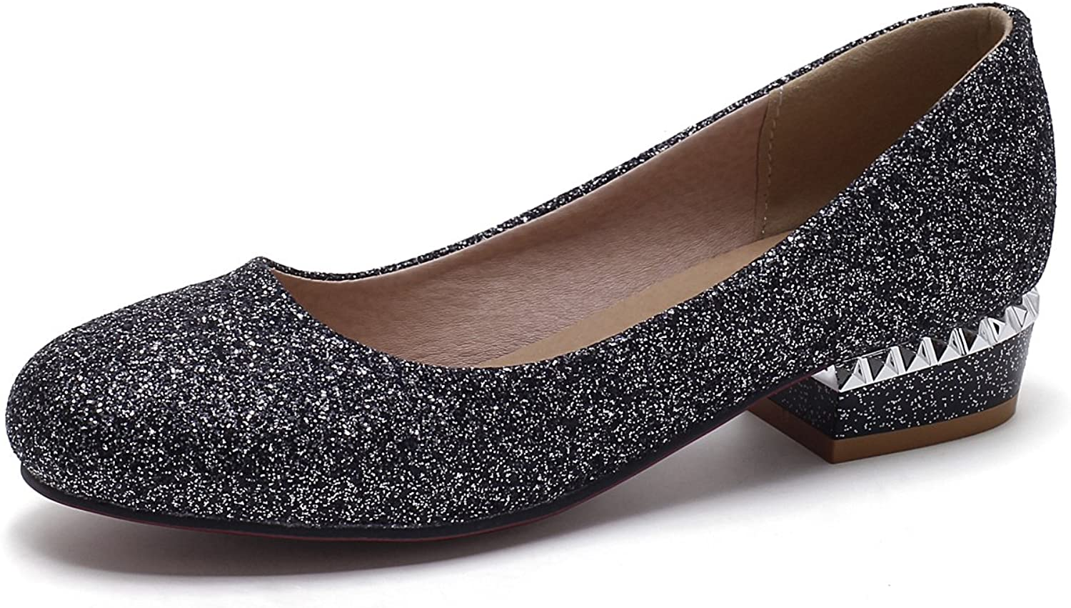 DoraTasia Sequin Fabric Round Toe Thick Low Heel Slip on Women's Pumps shoes