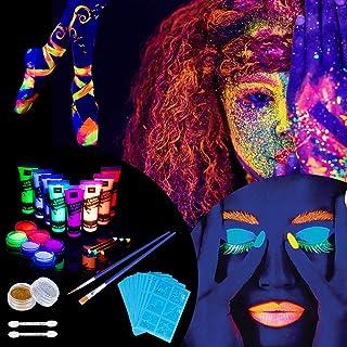 Lictin 43Pcs Pintura Corporal Pintura arte corporal UV Luz Negra Fosforescente maquillaje Arte maquillaje Fluorescente color