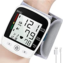 Wrist Blood Pressure Monitor, Blood Pressure Cuff with USB Charging, Automatic Digital Home BP Monitor Cuff - Accurate, Ad...
