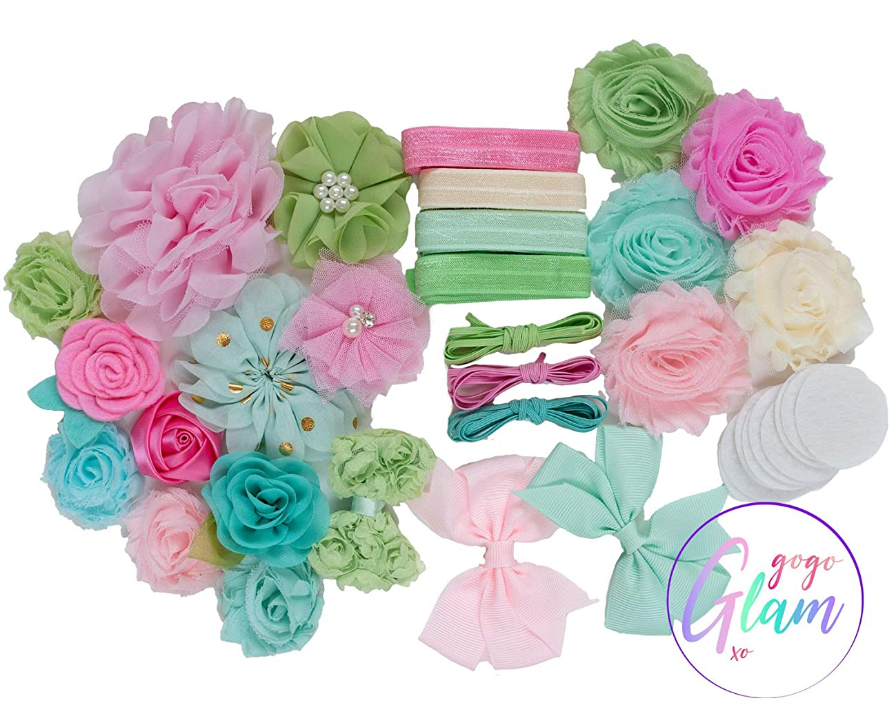 Baby Mine : DIY Headband Making Station Kit | Makes 14+ Unique Hair Accessories | Baby Shower Toddler Tween| Shabby Chiffon Craft Flowers | Pastel Pink, Mint Spring Green