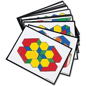 Learning Resources LER0264 Intermediate Pattern Block Design Cards, for Grades 2-6 [Block Design Cards],Multicolor