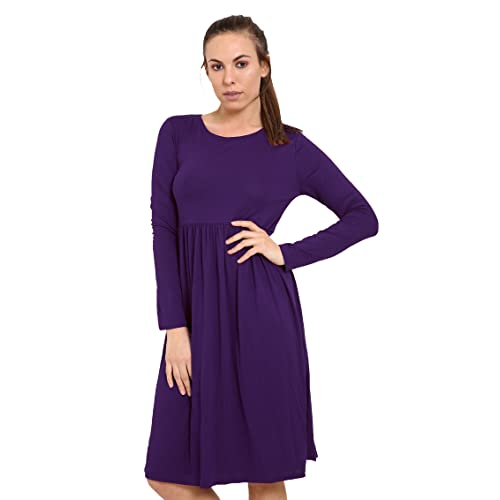 XubiDubi ® Women Ladies Long Sleeve Plain Jersey Flared Tea Skater Swing  Dress Sizes 8- a95524442