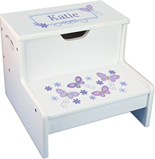 Personalized White Step Stool and Storage with Lavender Butterflies Design