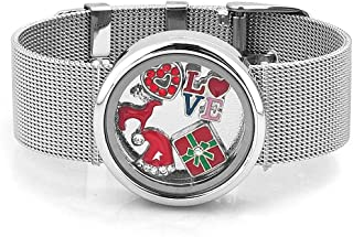 Floating Bangle Locket Bracelet With Christmas Floating Charms
