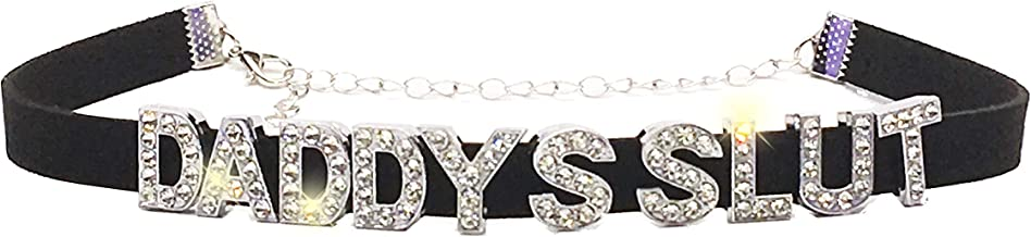 Knaughty Knickers Daddys Slut Rhinestone Choker Necklace DDLG for Daddys Owned Submissive Princess