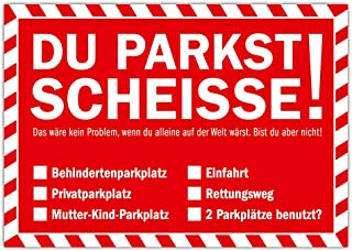 Du parkst Scheisse Notizblock mit 50 Blatt in Rot Falschparker Gehweg Radweg