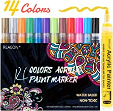 Paint Pens for Rock Painting, Stone, Ceramic, Glass, Wood, Canvas, Acrylic Paint Markers Pen Medium Tip Set of 14 Colors -...