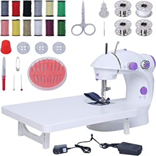 Mini Sewing Machine with Extension Table, Adjustable Crafting Mending Machine with Sewing Thread and Tool Kits for Househo...
