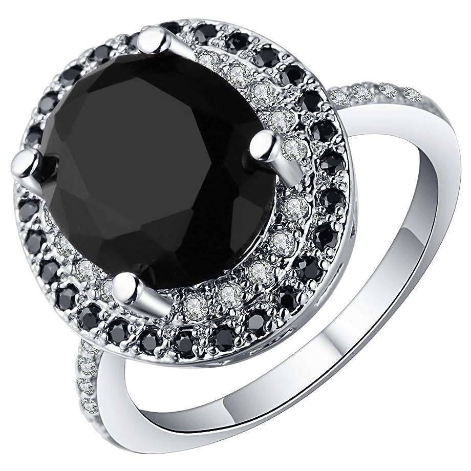 洞察力のあるサークルペルソナYiyiLai レトロ シルバー925 リング レディース ジルコニア 指輪 アクセサリー ブラック 米国9号