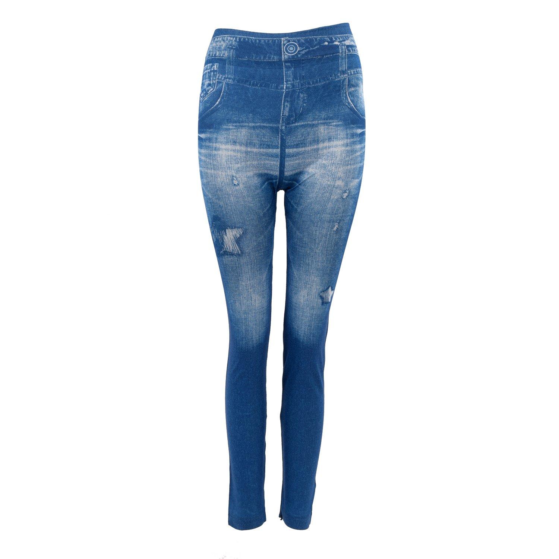 タイツ,SODIAL(R)女性のデニムジーンズ セクシーなスキニーレギンス デニムレギンス タイツ ストレッチパンツズボン-青 パターンスタイル:星