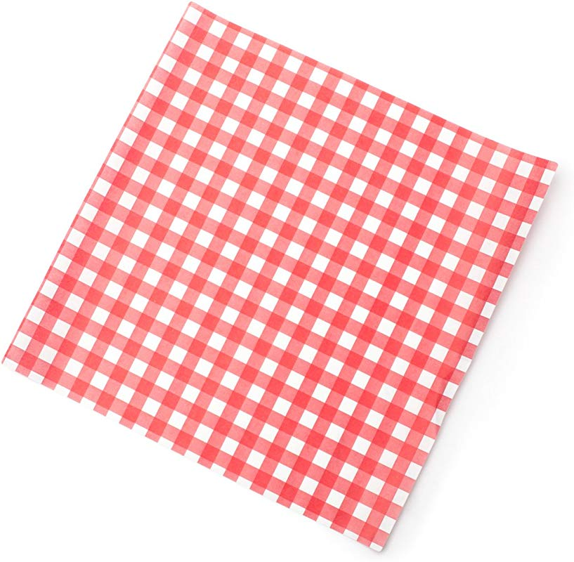 Fox Run 13201 French Fry Wax Paper Liners Red Gingham 24 Count