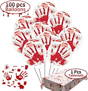 scary halloween decoration:Blood Splatter Balloons 100pcs+Bloody Tablecloth of halloween Vampire Zombie Party