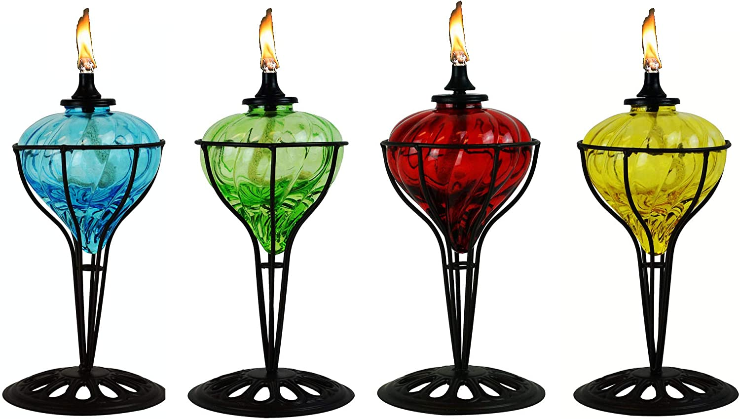 4 Pack 10 in Assorted color Table Top Torch - Burning Citronella   Lamp Oil Product SKU  GD10061