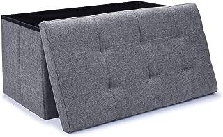 WoneNice Linen Folding Storage Ottoman Bench, Storage Chest Footrest Padded Seat, 30 x 15 x 15 in, Gray