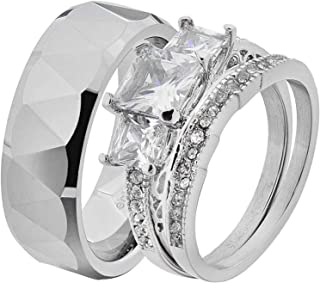 His & Hers Wedding Ring Sets Stainless Steel Princess CZ Triangle Faceted Tungsten Men EF