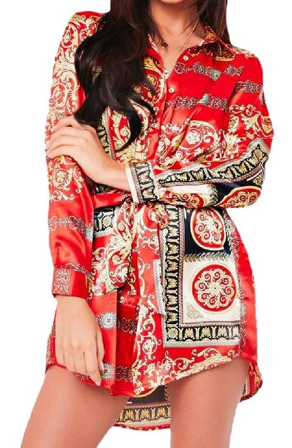 Abetteric Women Large Size A-line Dress Digital Print Western Shirt