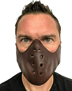 Rubber Johnnies , Insane Asylum Mask, Human Muzzle, Mouth Restraint, Latex, Cannibal Mask, Unisex Straight Jacket Costume, Lecter, Horror Restraints, Movie Quality, Brown, Psych Ward